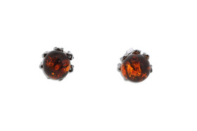 Sterling Silver Amber Ball Fancy Post Back Earrings 84210177