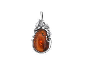 Sterling Silver Amber Pear Fancy Pendant 85210527