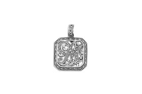 Sterling Silver Initial Marcasite Square Charm 85010591