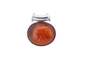 Sterling Silver Amber Fancy Oval Pendant 85210529