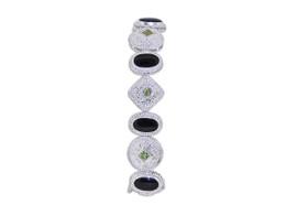 Sterling Silver Onyx Peridot Bracelet 82210107