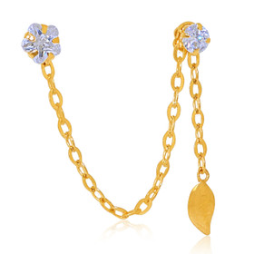 14K Yellow Gold Cubic Zirconia Double Pierced Leaf Single Earring