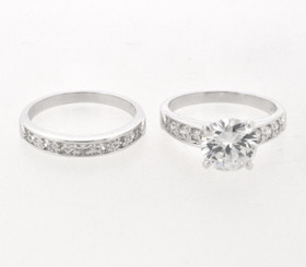 Sterling Silver Engagement Ring Wedding Band CZ Two Pieces Set