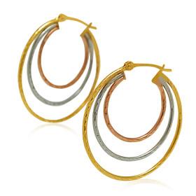 14K Yellow Gold Multi color Gold Hoop Earrings 40002389