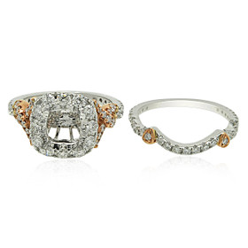 18K White and Pink Gold Diamond Engagement Ring Set