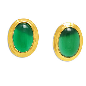 14K Yellow Gold Jade Enhanced Post Push Back Earrings