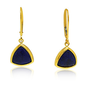 14K Yellow Gold Lapis Lazuli Triangle Lever Back Earrings