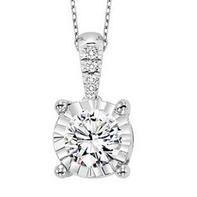 "14K White Gold Illusion Set Diamond  Pendant with 18"" Chain 31000792"