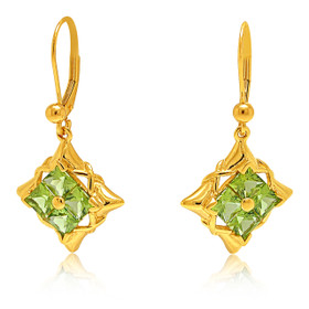 14K Yellow Gold Peridot Lever Back Earrings 42002869