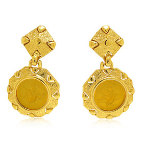 14K Yellow Gold Synthetic Citrine Post Back Earrings