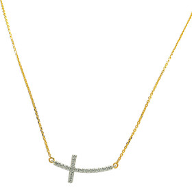 14K Yellow and White Gold Curved Cross Diamond Bar Necklace