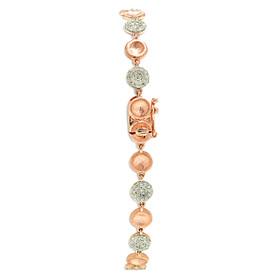 14K Pink Gold Pave Diamond Circle Bracelet
