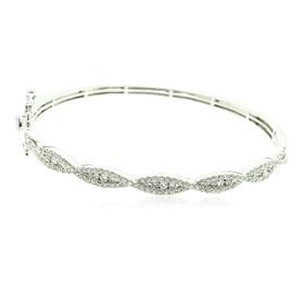 14K White Gold Diamond Criss Cross Fancy Bangle 21000600