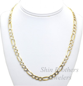 Sterling Silver and Gold Overlay Figaro Chain