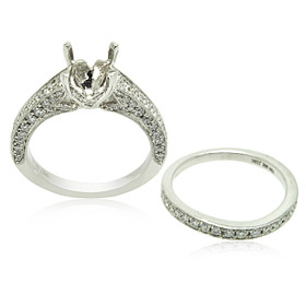 18K White Gold Diamond Engagement Ring And Band Two Piece Settings 11005858