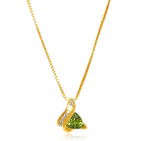14K Yellow Gold Diamond and Peridot Charm