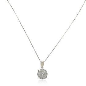 """14K White Gold 18"""" Diamond Illusion Necklace"""