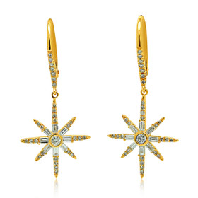 14K Yellow Gold Diamond Lever Back Star Earrings