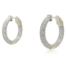 14K White Gold Diamond 2.96 Carat Inside Out Hoop Earrings 41002189