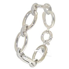 """14K White Gold 8"""" Oval Link Diamond Bracelet"""