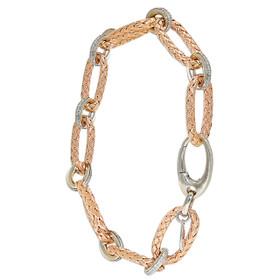 """14K White and Rose Gold 8"""" Oval Link Diamond Bracelet"""