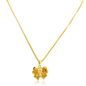 14K Yellow Gold Citrine Butterfly Charm