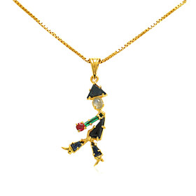 14K Yellow Gold Multistone Onyx Man Charm