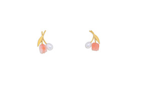 14K Yellow Gold Coral and Freshwater Pearl Flower Post Butterfly Back Earrings