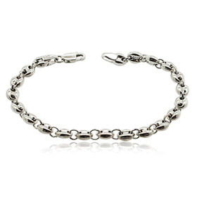 "14K White Gold 6"" Puffed Mariner Bracelet"