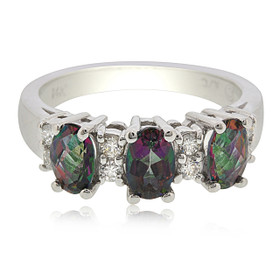 14K White Gold Mystic Topaz Diamond Ring