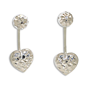 14K White Gold Fancy Heart Back Post Earrings