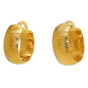 14K Yellow Gold Oval Diamond Cut Fancy Hoop Earrings 40002432