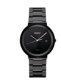 Seiko Men's Quartz Stainless Steel Dress Watch, Color:Black (Model: SNE481)
