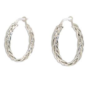 14K White Gold Braided Hoop Earrings