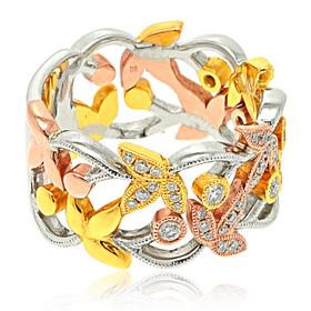 14K Tri-Color Gold Diamond Ring