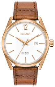 Citizen BM7413-02A CTO Men's Rose Gold Tone Watch With Brown Leather  Band