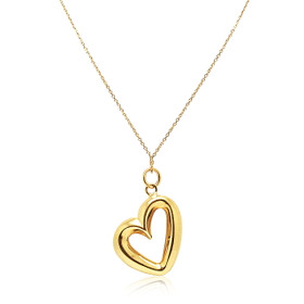 14K Yellow High Polish Fancy  Heart Necklace 30003104