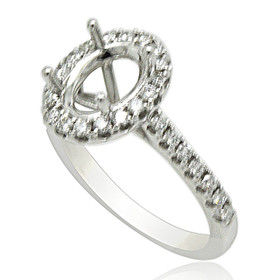18K White Gold Diamond Setting For Oval Shape Diamond 11005907