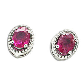14K White Gold Oval Shape Genuie Ruby Studs Earrings 42002904