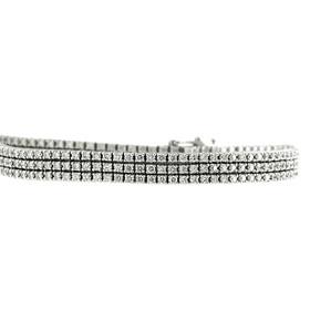 14K White Gold Triple Strand Diamond Tennis Bracelet