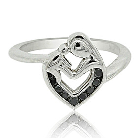 14K White Gold Enhanced Black Diamond Mother and Child Ring