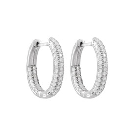 Rhodium Plated Sterling  Silver Pave CZ Hoops With Hinge Lock