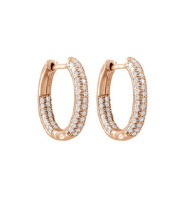 Rose Plated Sterling  Silver Pave CZ Hoops With Hinge Lock