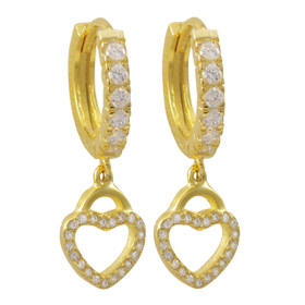 Gold Plated Sterling Silver, Open Heart CZ Huggie Hoop Earrings