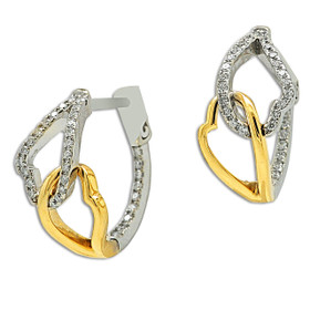 14K White And Yellow Gold Diamond Double HeartHoop Earrings 41002204