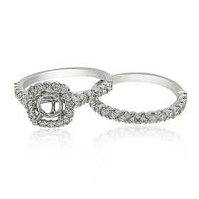 18K White Gold Diamond Engagement Ring Set