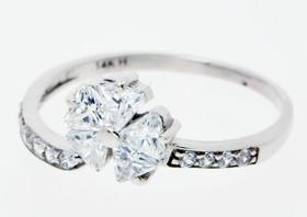 14K White Gold CZ Flower Ring 12001537