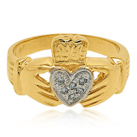 14K Yellow Gold Diamond Claddagh Ring 11001446