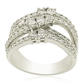 14K White Gold 1.56 carat Diamond  Criss Cross Fancy Ring 1105974