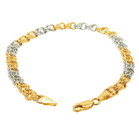 14K White And Yellow Gold Two Tone Charm Bracelet